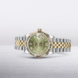 La montre classique de référence La Rolex Datejust 31 en Acier Oystersteel et or jaune. Boîtier : 31 mm. Cadran : vert olive, serti de diamants. Bracelet : Jubilé. #Rolex #Datejust